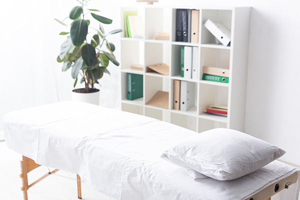 A tranquil massage setting with a bookcase, plant, and massage table