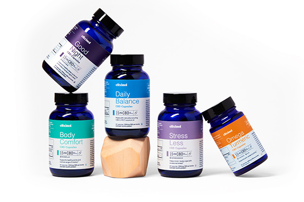 An array of therapeutic offerings from Elixinol in jars