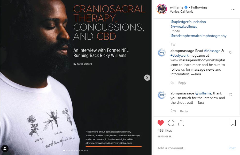 Screenshot of Instagram post by Ricky Williams sharing a Massage & Bodywork article