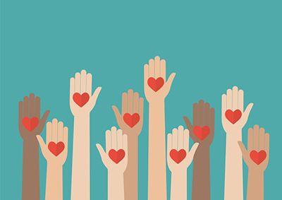 Illustration of diverse hands raised with a heart on each palm