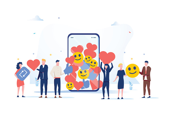 Cartoon people holding emojis and heart icons standing near a giant smartphone
