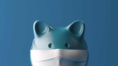A piggy bank wearing a protective facial mask