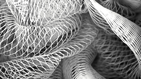 Closeup view of plastic mesh resembling human fascia