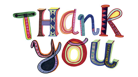 """Thank You"" in colorful letters and patterns"